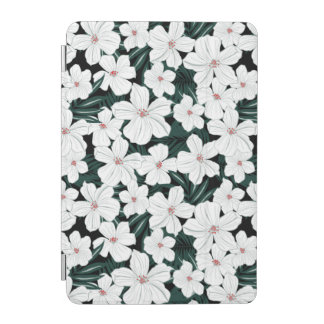 White Tropical Flowers Pattern iPad Mini Cover