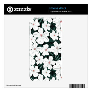 White Tropical Flowers Pattern iPhone 4S Skins