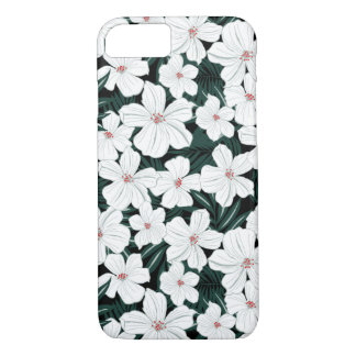 White Tropical Flowers Pattern iPhone 7 Case