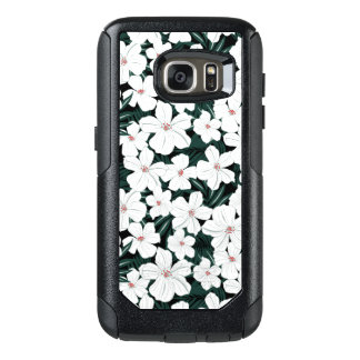 White Tropical Flowers Pattern OtterBox Samsung Galaxy S7 Case