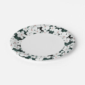White Tropical Flowers Pattern Paper Plate