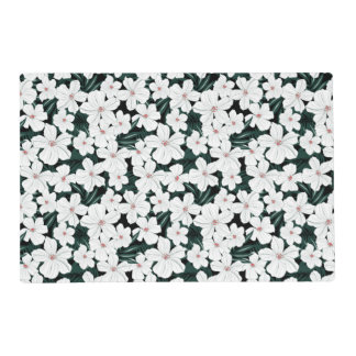 White Tropical Flowers Pattern Placemat