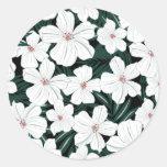 White Tropical Flowers Pattern Sticker