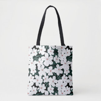 White Tropical Flowers Pattern Tote Bag