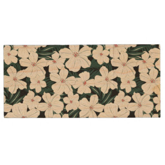White Tropical Flowers Pattern Wood Flash Drive