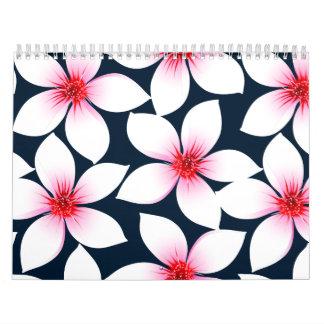 White tropical hibiscus flowers calendar
