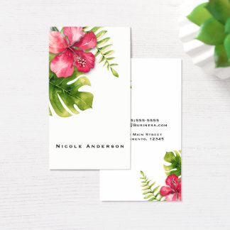 White Tropical Hibiscus Leaves Chic Elegant Floral Business Card