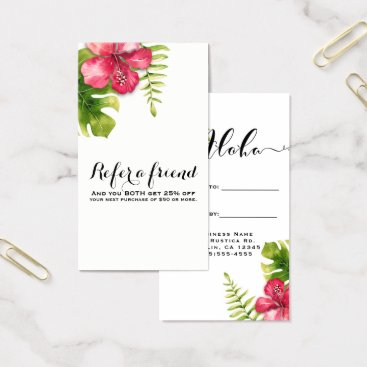 Beach Themed White Tropical Hibiscus Leaves Chic Refer a Friend Business Card