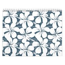 White tropical striped floral calendar