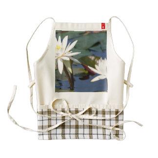 White tropical water lilies zazzle HEART apron