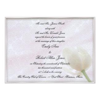 White Tulip and Brocade Wedding Invitation