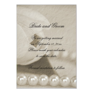"""White Tulip and Pearls Save the Date Announcement 5"""" X 7"""" Invitation Card"""
