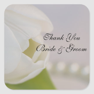 White Tulip and Pearls Wedding Thank You Favor Tag Square Sticker