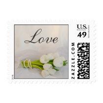 White Tulip Bouquet Spring Wedding Love Postage
