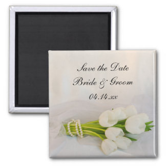 White Tulip Bouquet Spring Wedding Save the Date 2 Inch Square Magnet