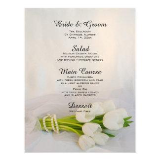 White Tulip Bouquet Wedding Menu Custom Flyer