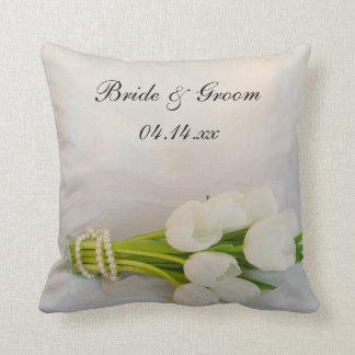 White Tulip Bouquet Wedding Pillow