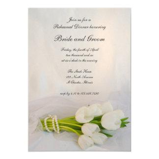 White Tulip Bouquet Wedding Rehearsal Dinner Card