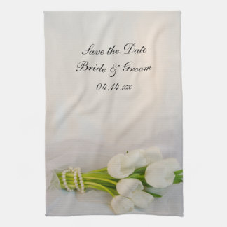 White Tulip Bouquet Wedding Save the Date Kitchen Towels