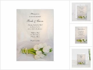 White Tulip Bouquet Wedding Stationery