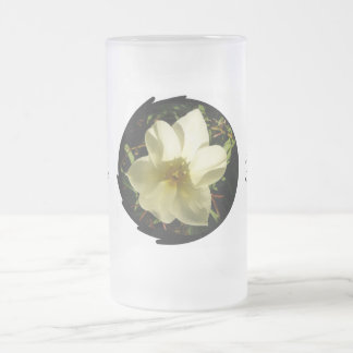 White Tulip Bride Frosted Glass Beer Mug