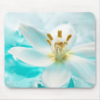 White Tulip Flower Blue Water Pond Aqua Turquoise Mouse Pad