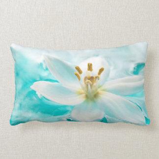 White Tulip Flower Blue Water Pond Aqua Turquoise Throw Pillows