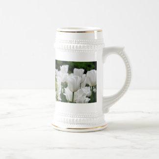 white tulip garden beer stein