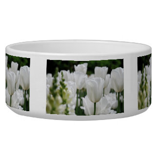 white tulip garden pet food bowl