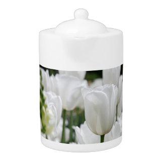 white tulip garden teapot