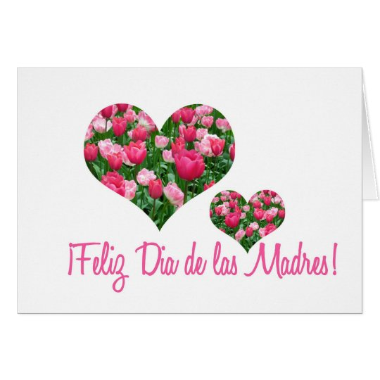 white tulip hearts mother's day card spanish