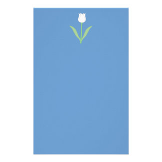 White Tulip on Blue Stationery Paper