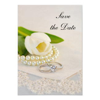 White Tulip Pearls and Rings Wedding Save the Date Card