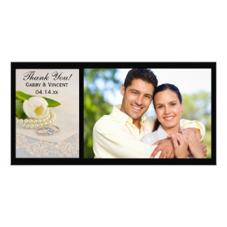 White Tulip, Pearls and Rings Wedding Thank You Card