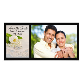 White Tulip, Pearls, Rings Wedding Save the Date Card