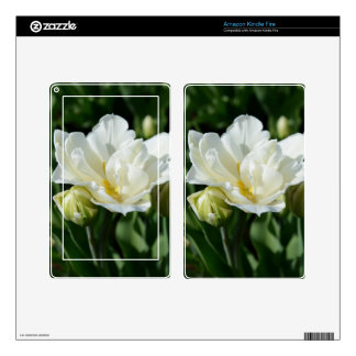 White Tulip Decals For Kindle Fire