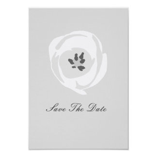 White Tulip Wedding Save The Date Card