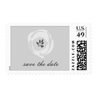 White Tulip Wedding Save The Date Postage