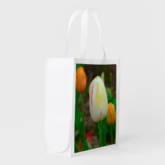 WHITE TULIP WITH PINK AND YELLOW SPLASHES OF COLOR REUSABLE GROCERY BAG
