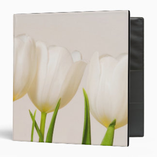 White tulips against a white background, 3 ring binder
