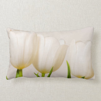 White tulips against a white background, lumbar pillow