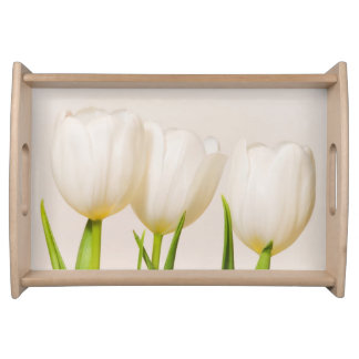 White tulips against a white background, serving tray