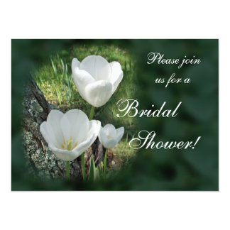 White Tulips Bridal Shower Card