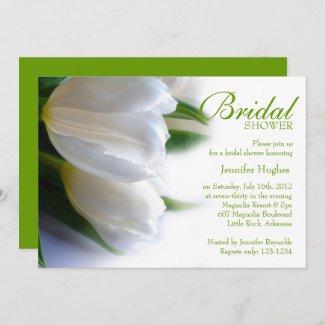 White Tulips Bridal Shower Invitation