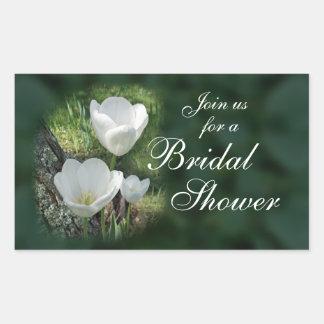 White Tulips Bridal Shower Rectangular Sticker