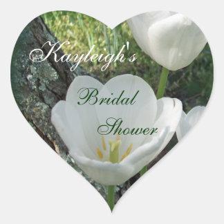 White Tulips Bridal Shower Heart Sticker