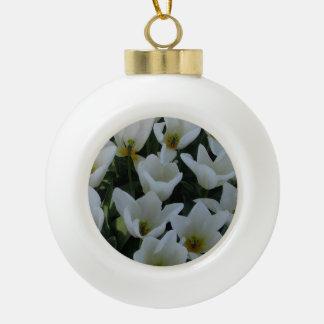 White Tulips Ceramic Ball Christmas Ornament