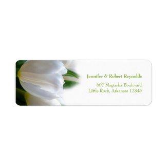 White Tulips Floral Wedding Address Label