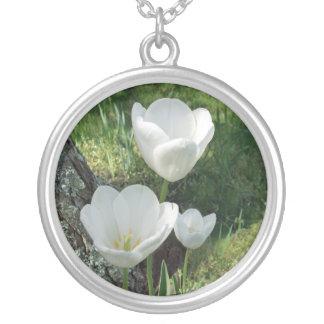 White Tulips Flower Trio Jewelry