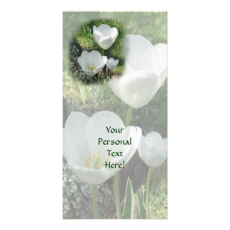 White Tulips Flower Trio Customized Photo Card